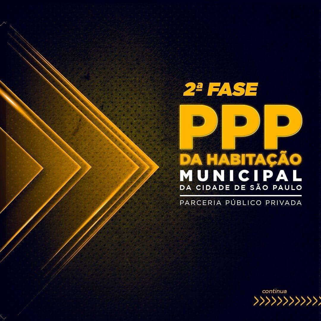 """Imagem com fundo preto, em degradê para o amarelo escrito """"segunda fase PPP da habitação municipal da cidade de São Paulo"""""""