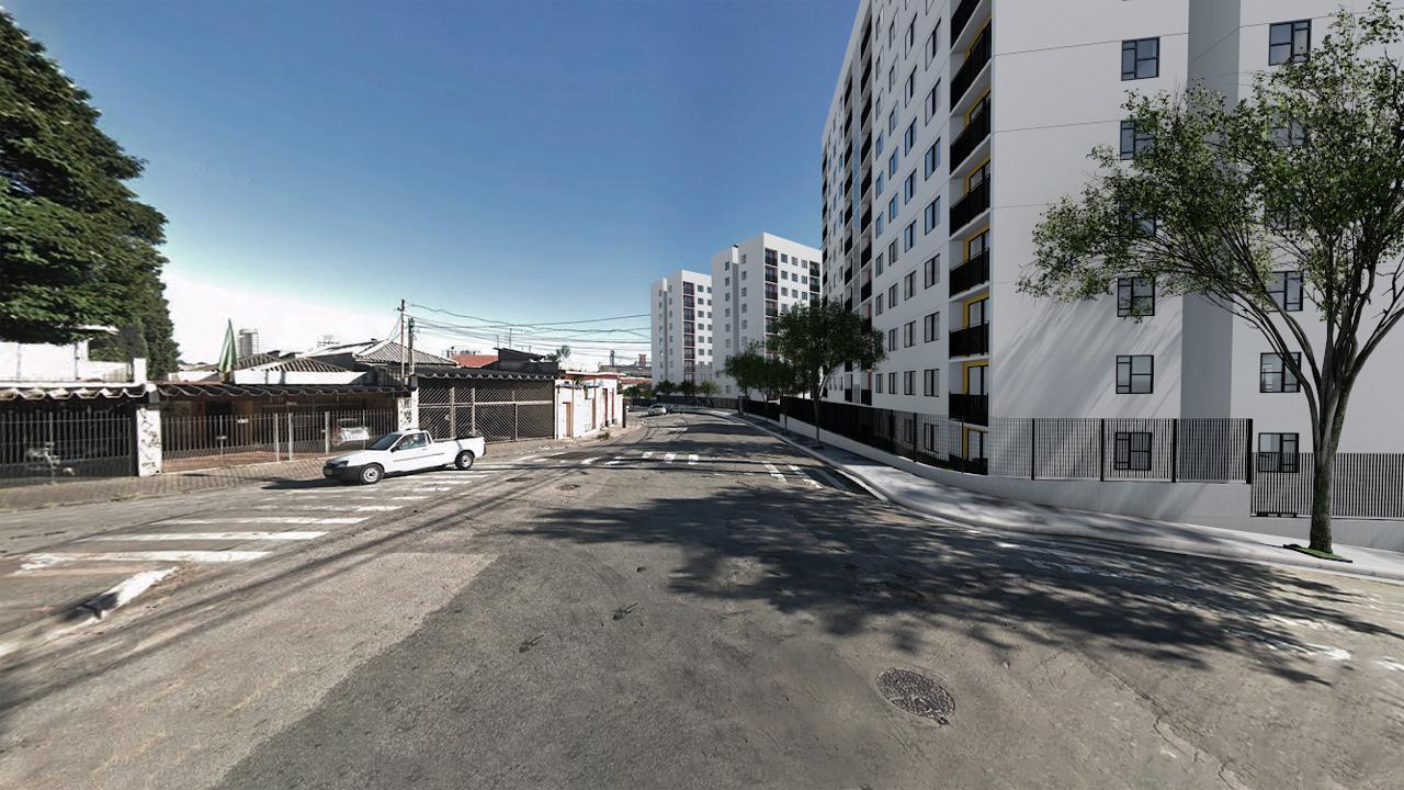 Imagem térrea da rua do empreendimento, com a simulação de quando as obras forem concluídas.