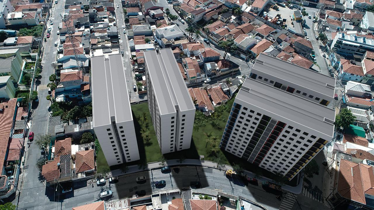 Imagem aérea da simulação do empreendimento construído. São 3 torres uma ao lado da outra.