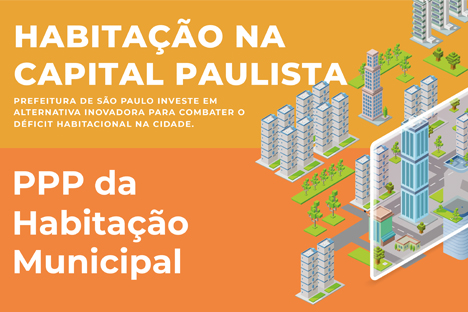 """A imagem é uma arte com metade laranja e metade amarela, escrito """"Habitação na capital paulista"""" em branco. Ao lado direito da arte estão prédios desenhados e ao lado esquerdo está escrito """"PPP da Habitação Municipal"""" em branco."""